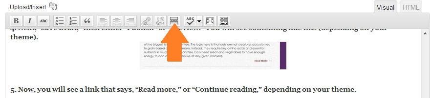 "Click this button to insert the ""Read more"" code automatically!"